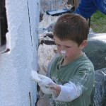 Boy with white paint